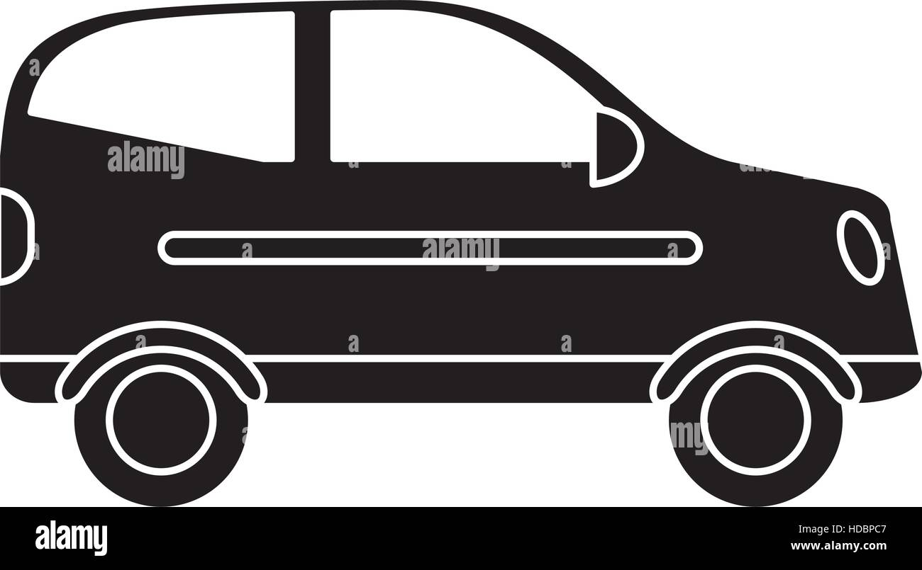 silhouette hatchback car vehicle side view - Stock Image