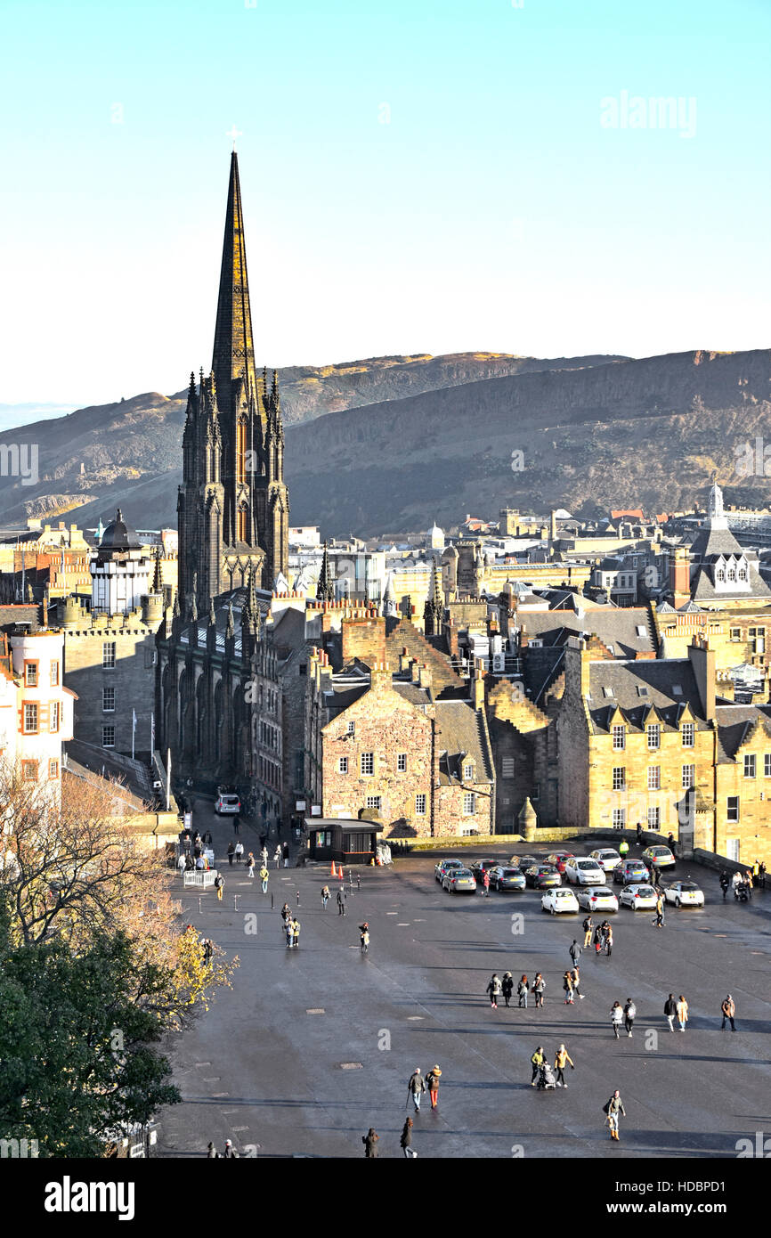 Edinburgh uk Old Town with dominant 'redundant' church & spire, now offices & more for the Edinburgh - Stock Image