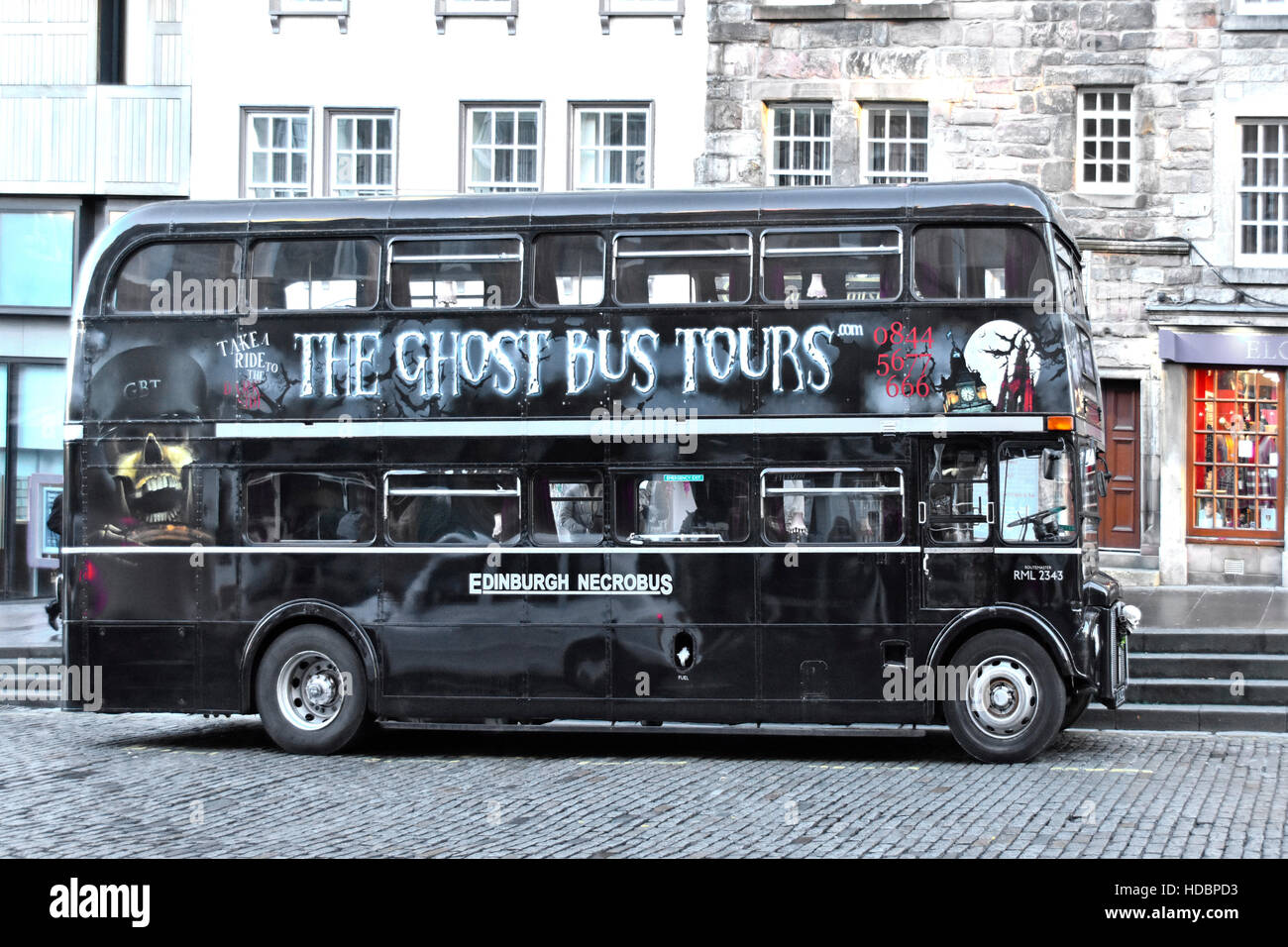 Scottish Ghost Bus Tours parked in Lawnmarket Edinburgh Scotland uk refurbished London Routemaster double decker - Stock Image
