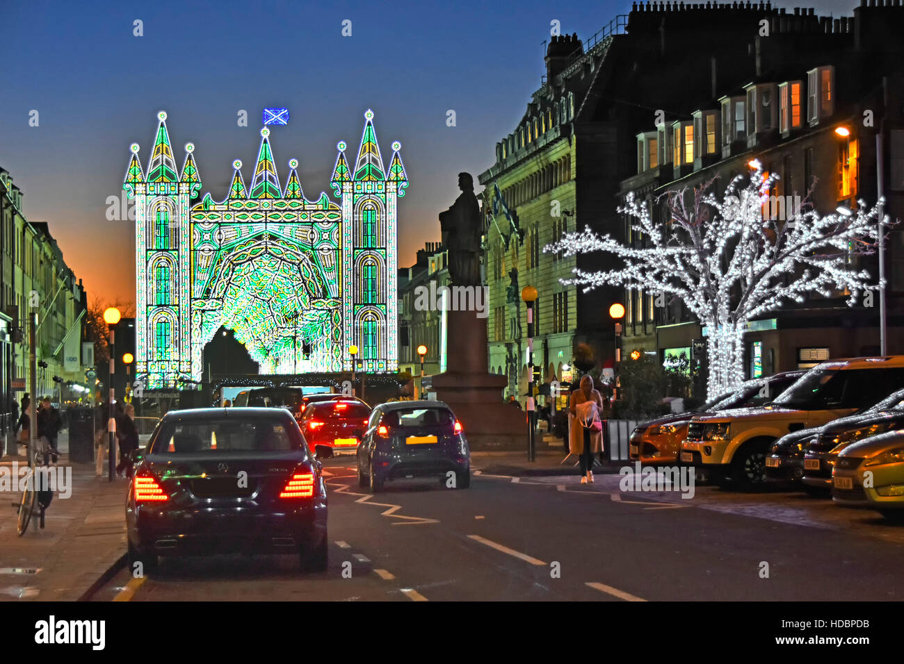 Scottish Edinburgh Christmas Street of Light show in road Xmas lights part of George Street New Town dusk sunset - Stock Image