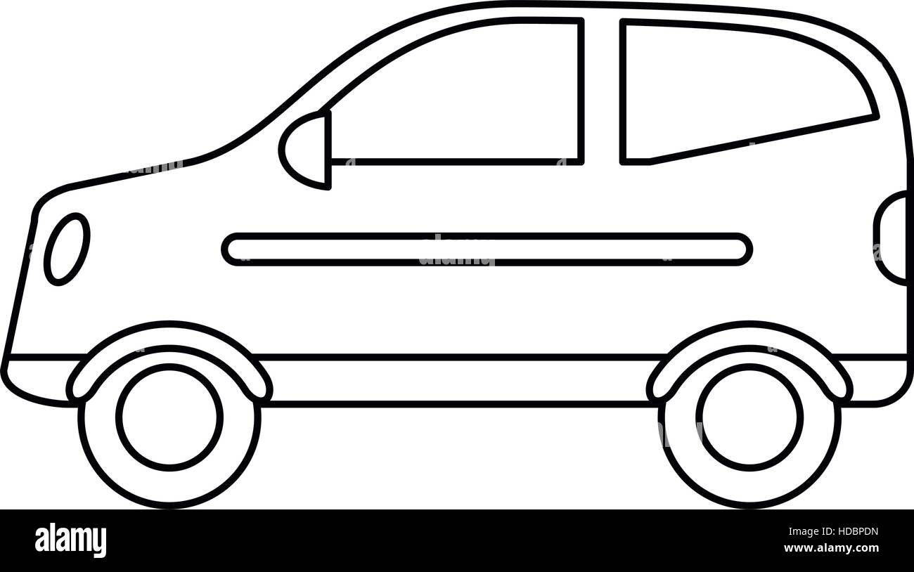 hatchback car vehicle side view outline - Stock Image