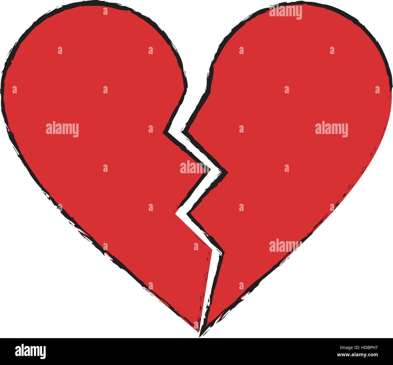 Cartoon Red Heart Broken Sad Separation Stock Vector Art