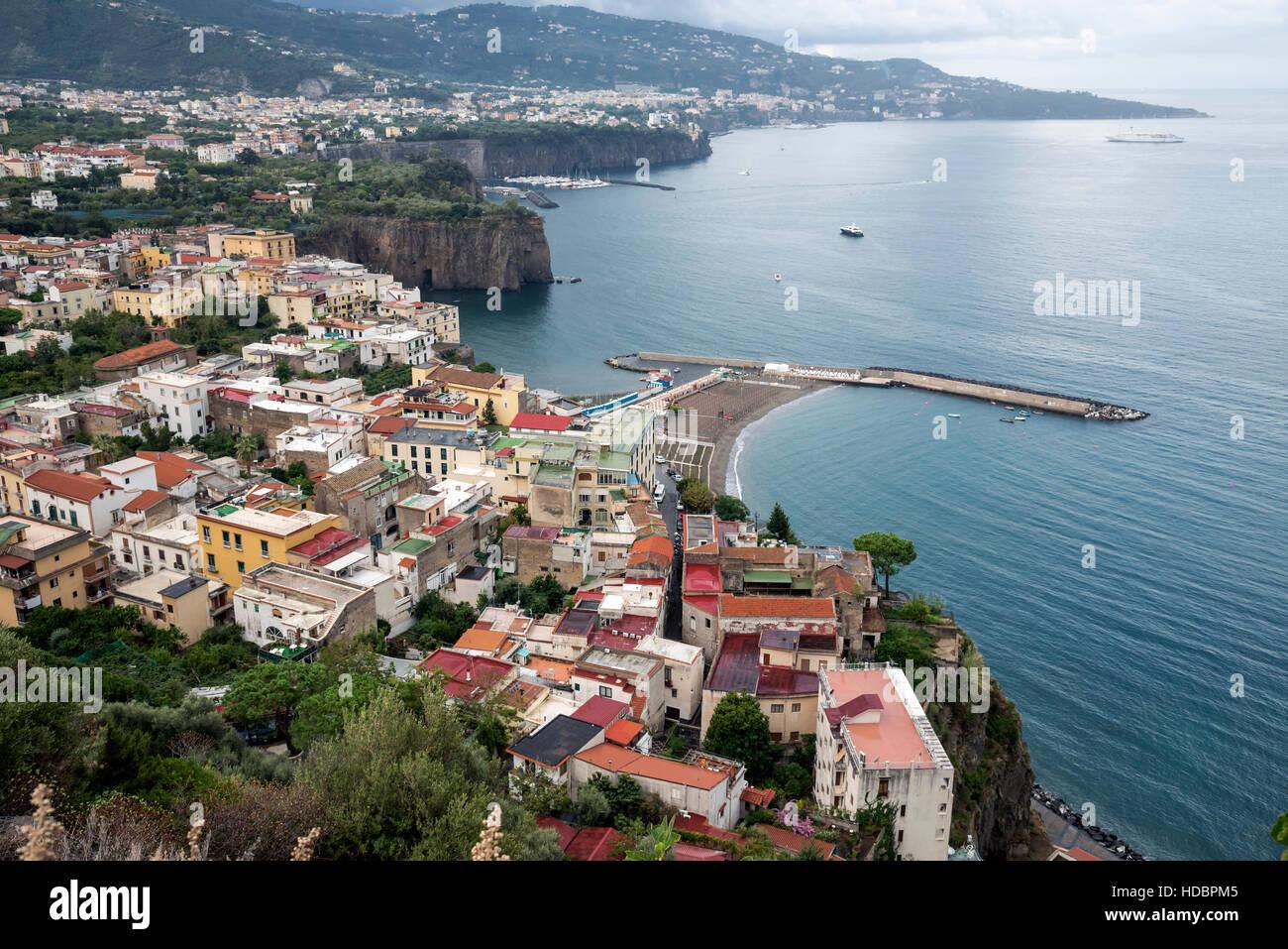 Beautiful panorama of Sorrento Peninsula  , Campania,  Southern Italy, Europe - Stock Image