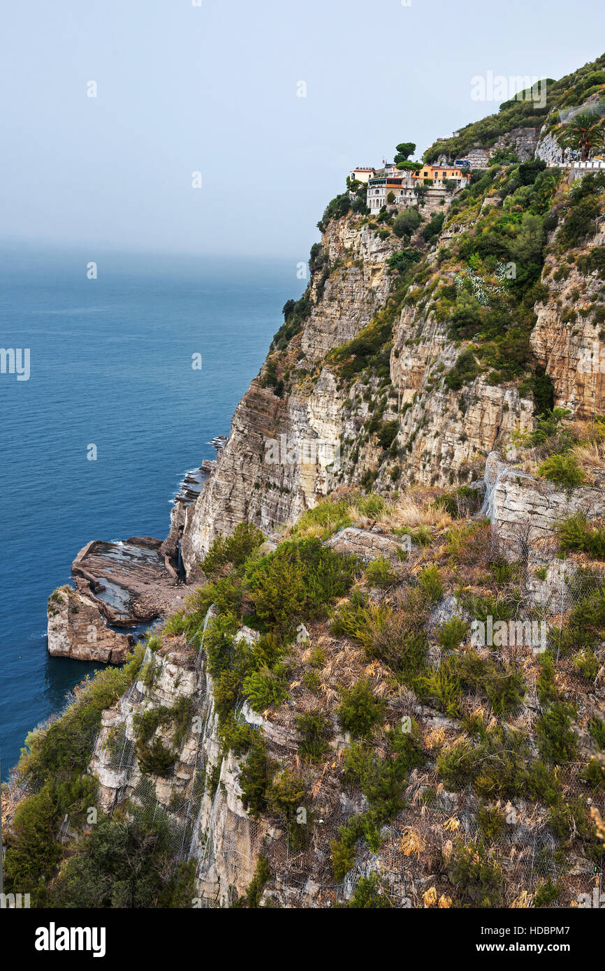 Small village on the top of cliff ,  Sorrentine Peninsula, Campania,  Southern Italy, Europe - Stock Image