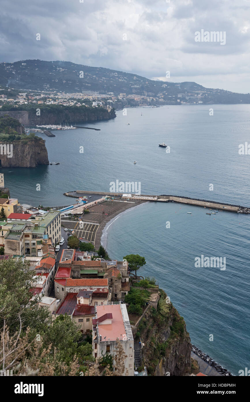 Vertical view on  Sorrentine Peninsula, , Campania,  Southern Italy, Europe - Stock Image