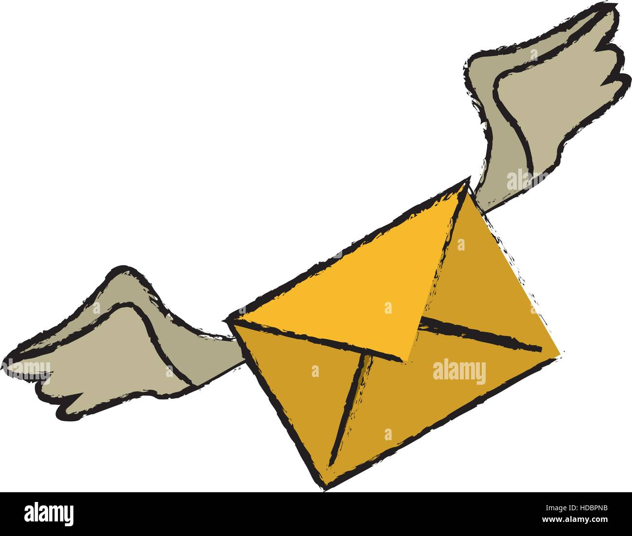 drawing winged email envelope mail express - Stock Image