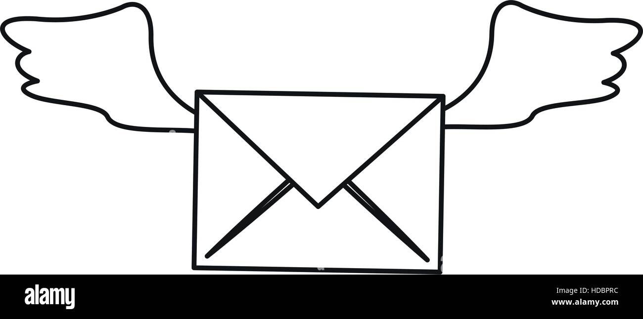 winged email envelope mail express outline - Stock Image