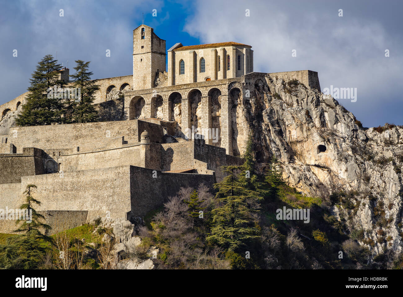 Citadel of Sisteron and its fortifications. Alpes de Haute Provence, Southern Alps, France - Stock Image