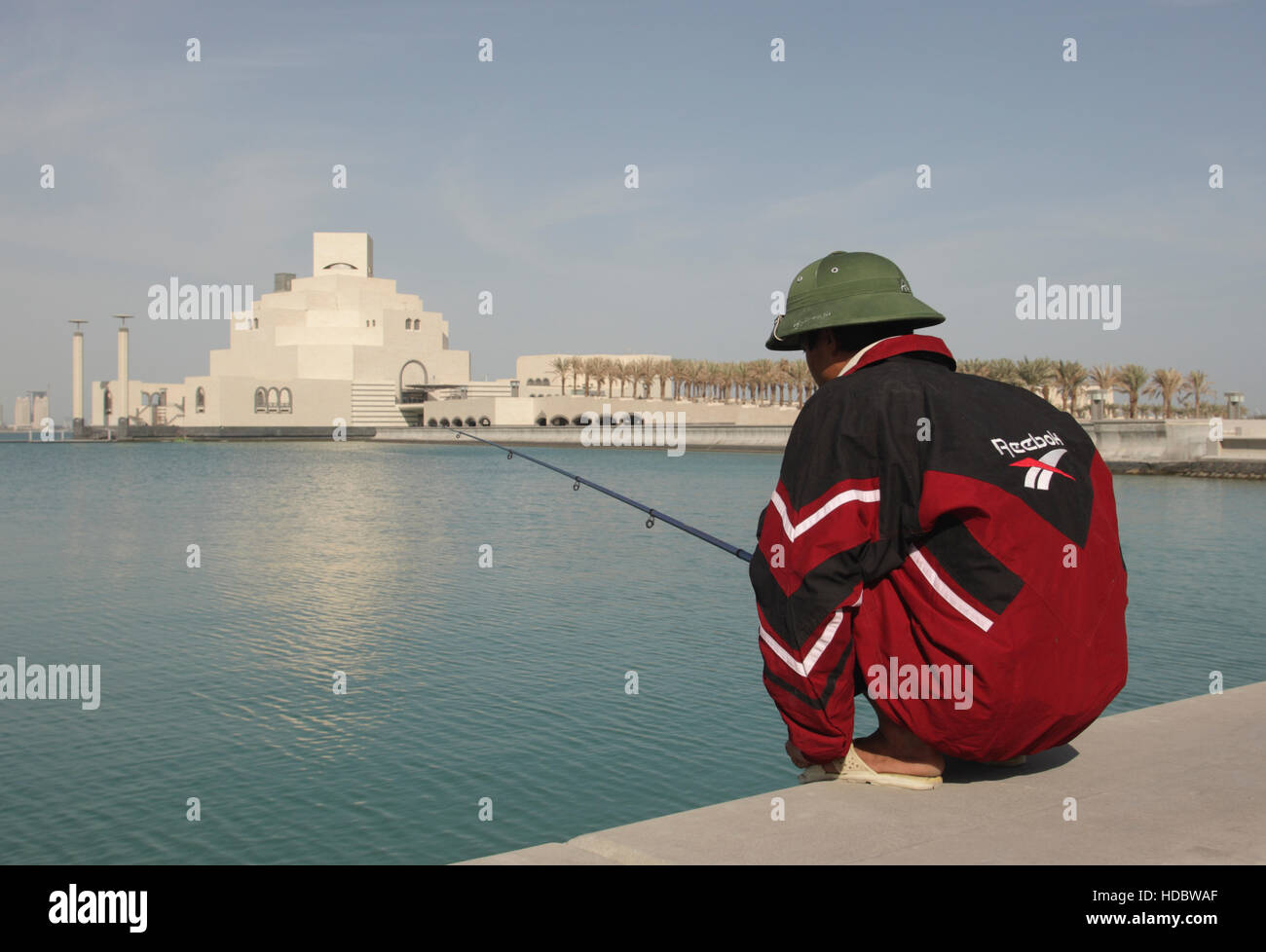 View across the sea to the Museum of Islamic Art, architect I.M.Pei, Doha, Qatar, Middle East - Stock Image