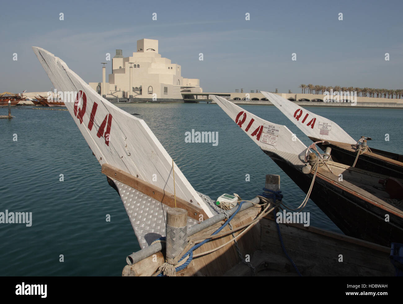 View from a Dhow, Dhow Harbour onto the museum for Islamic Art, architect I.M.Pei, Doha, Qatar, Middle East - Stock Image