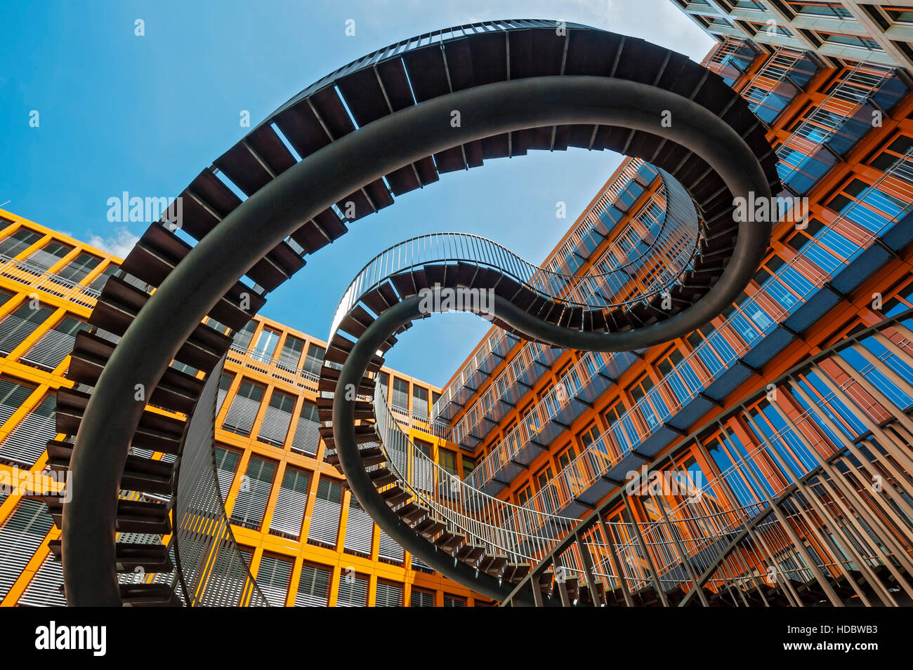 Endless staircase, double helix, sculpture, artist Olafur Eliasson, auditing firm KPMG, Westend, Schwantalerhöhe, - Stock Image