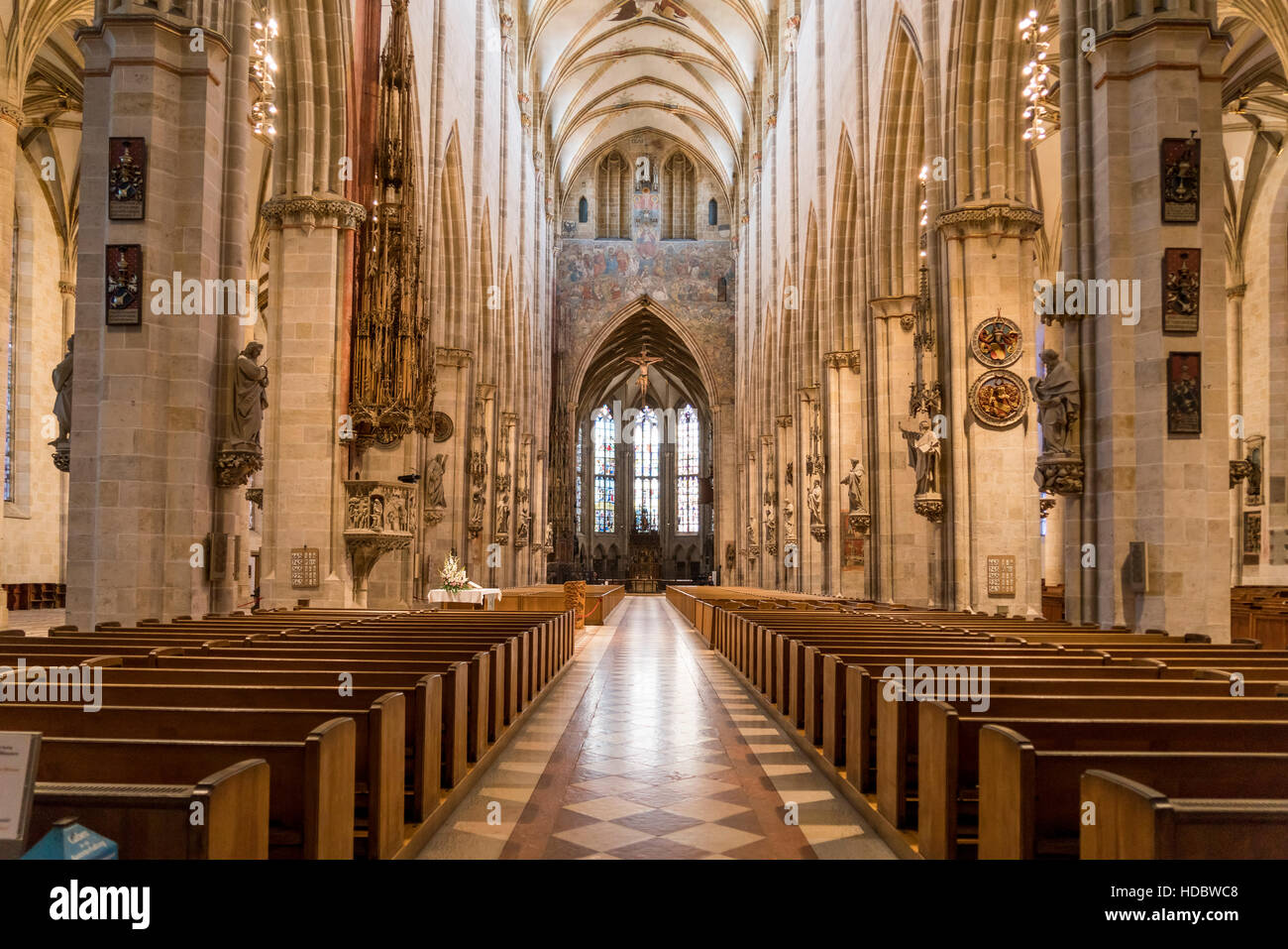 Interior of Ulm Minster, Ulm, Baden-Württemberg, Germany Stock Photo