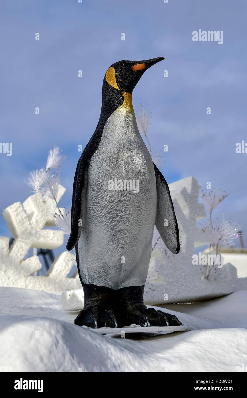 Penguin in winter landscape, Europa-Park Rust, Baden-Württemberg, Germany Stock Photo