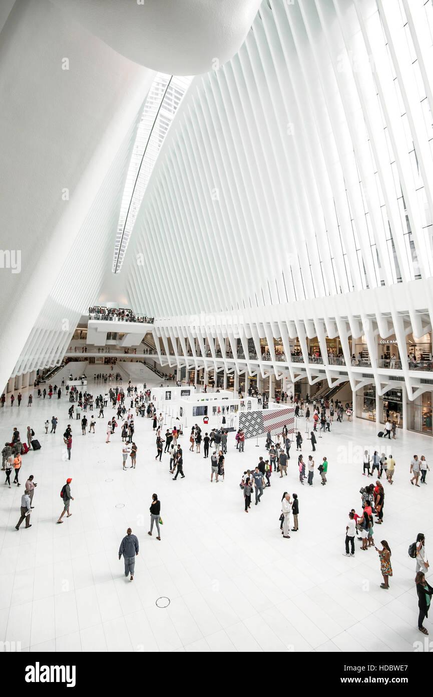 Oculus, subway station main hall with shopping centre, World Trade Center Transportation Hub, architect Santiago - Stock Image