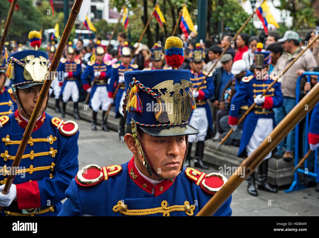 Changing of the Guard ceremony in front of the Carondelet Presidential Palace in Quito, Ecuador - Stock Image