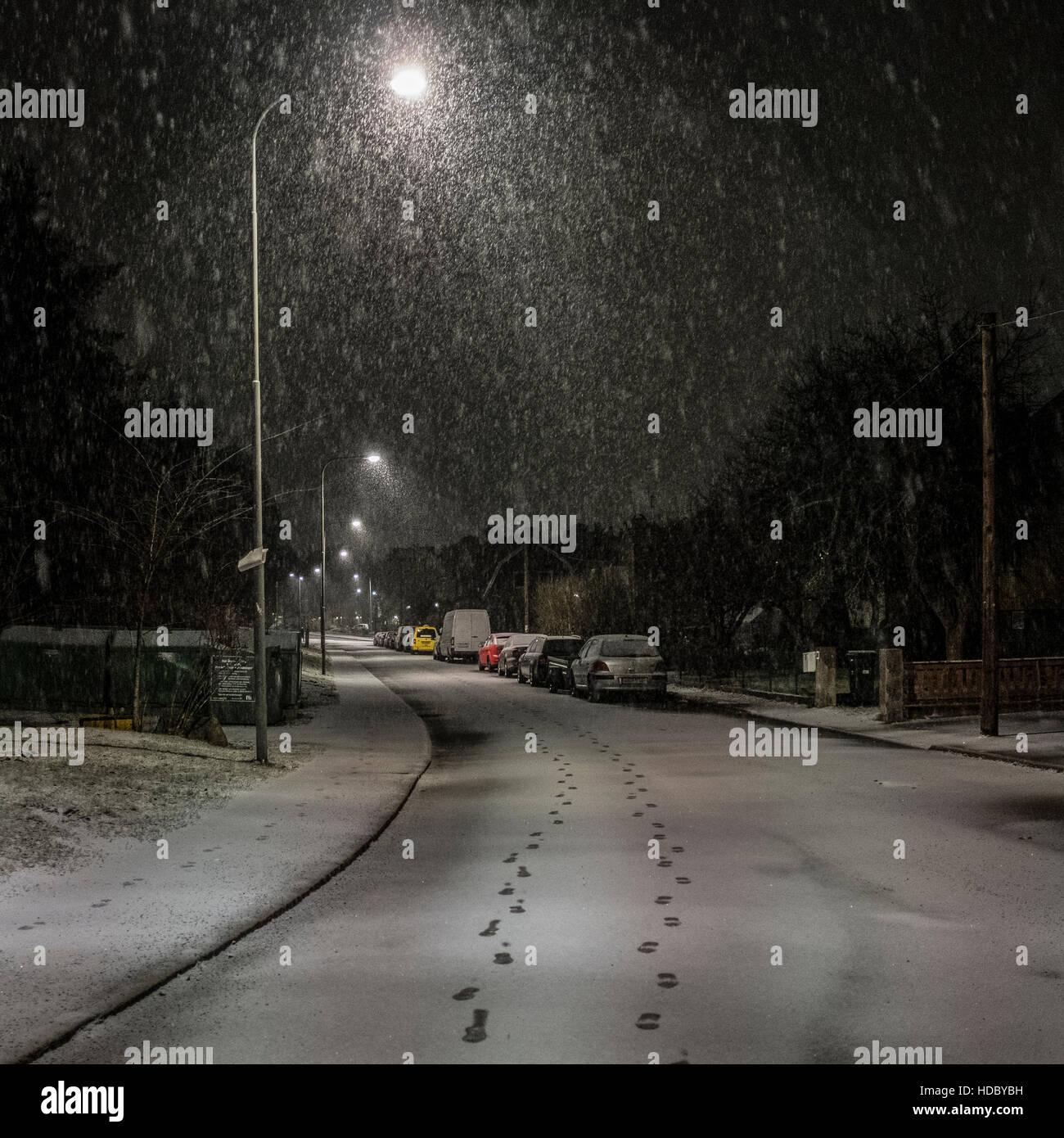 Tracks in the winter night / Spår i vinternatten - Stock Image