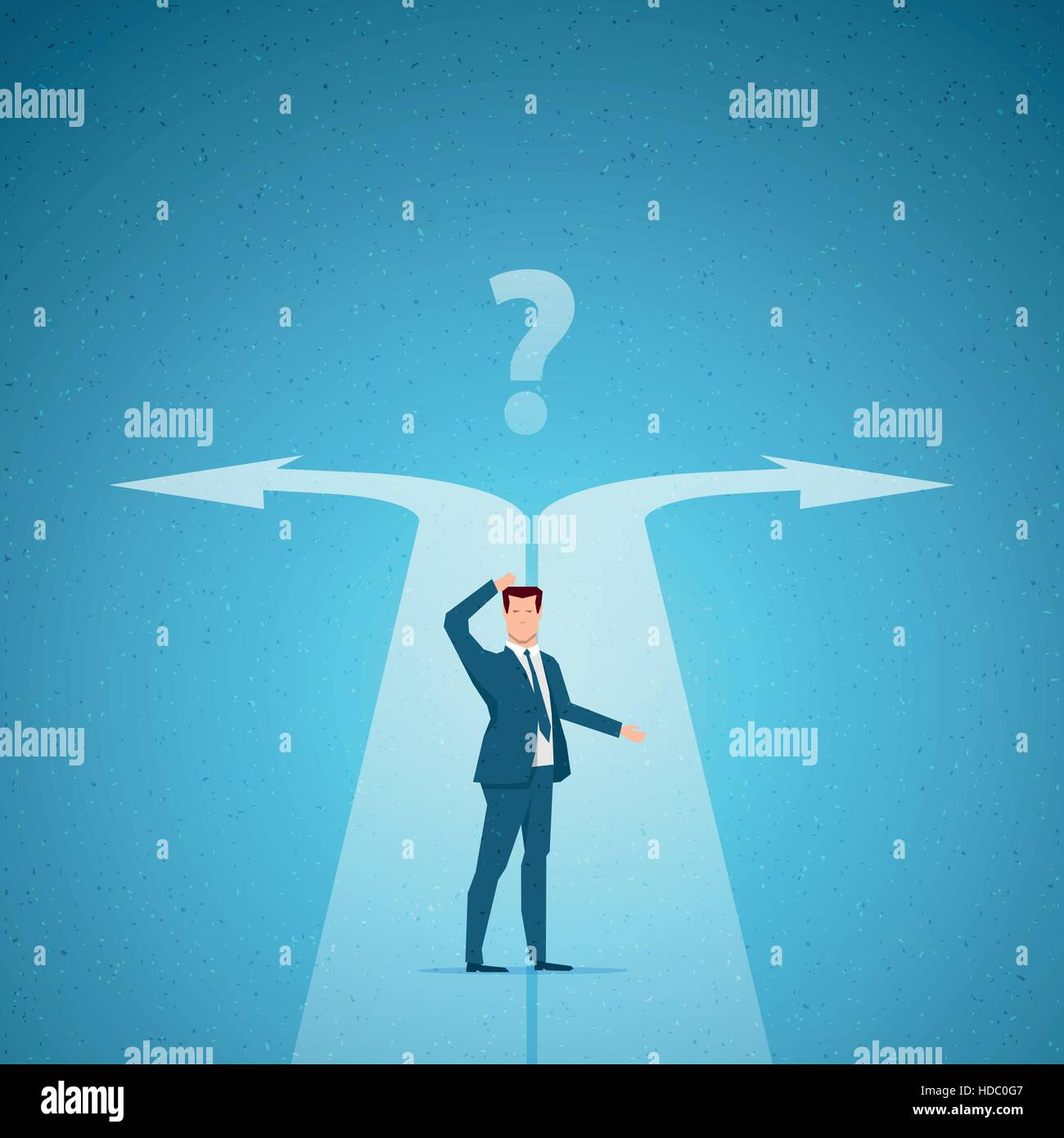 Business concept vector illustration. Choices, career, confused mind concept. Elements are layered separately in - Stock Image