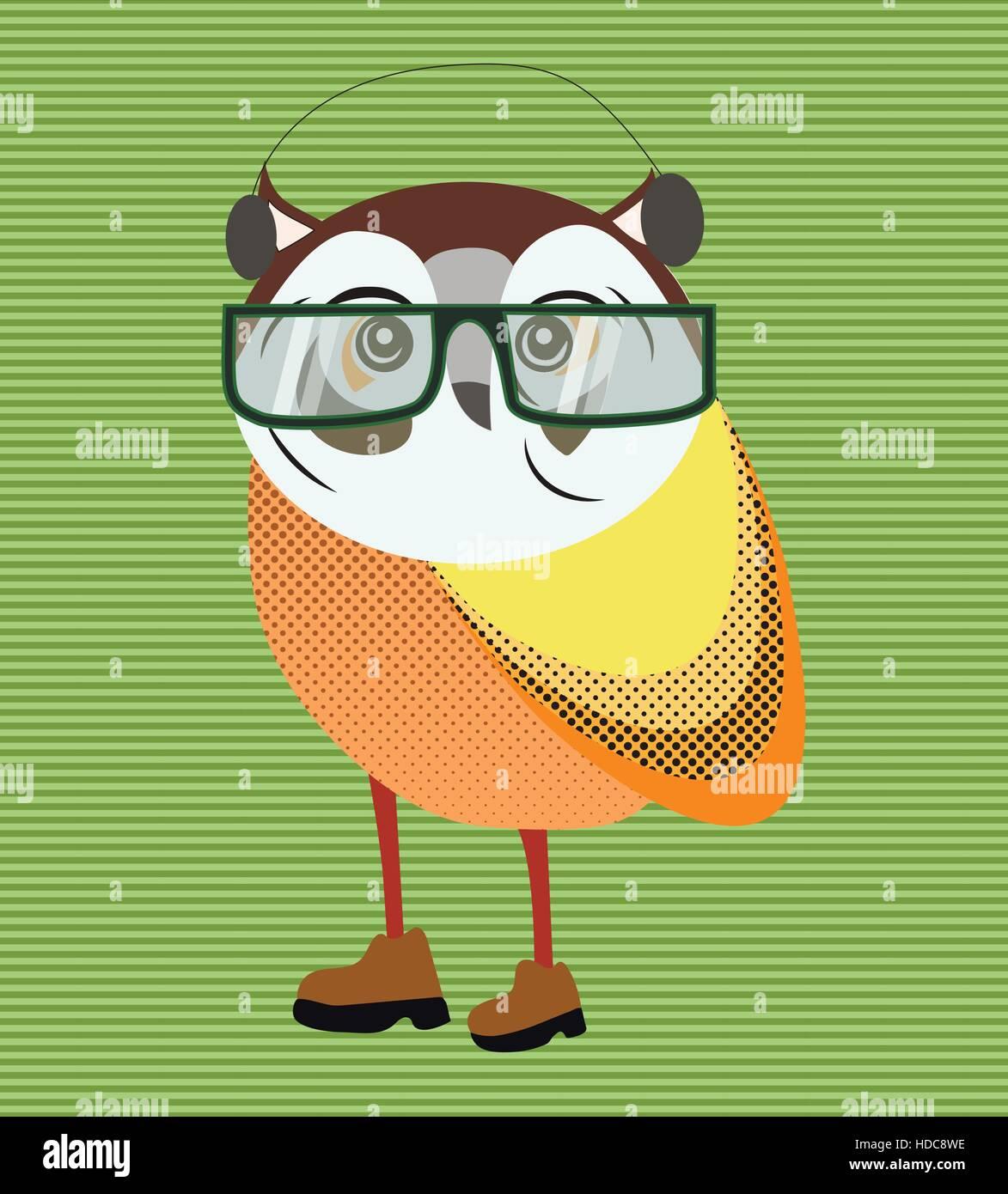 Hipster owl in glasses portrait Stock Vector