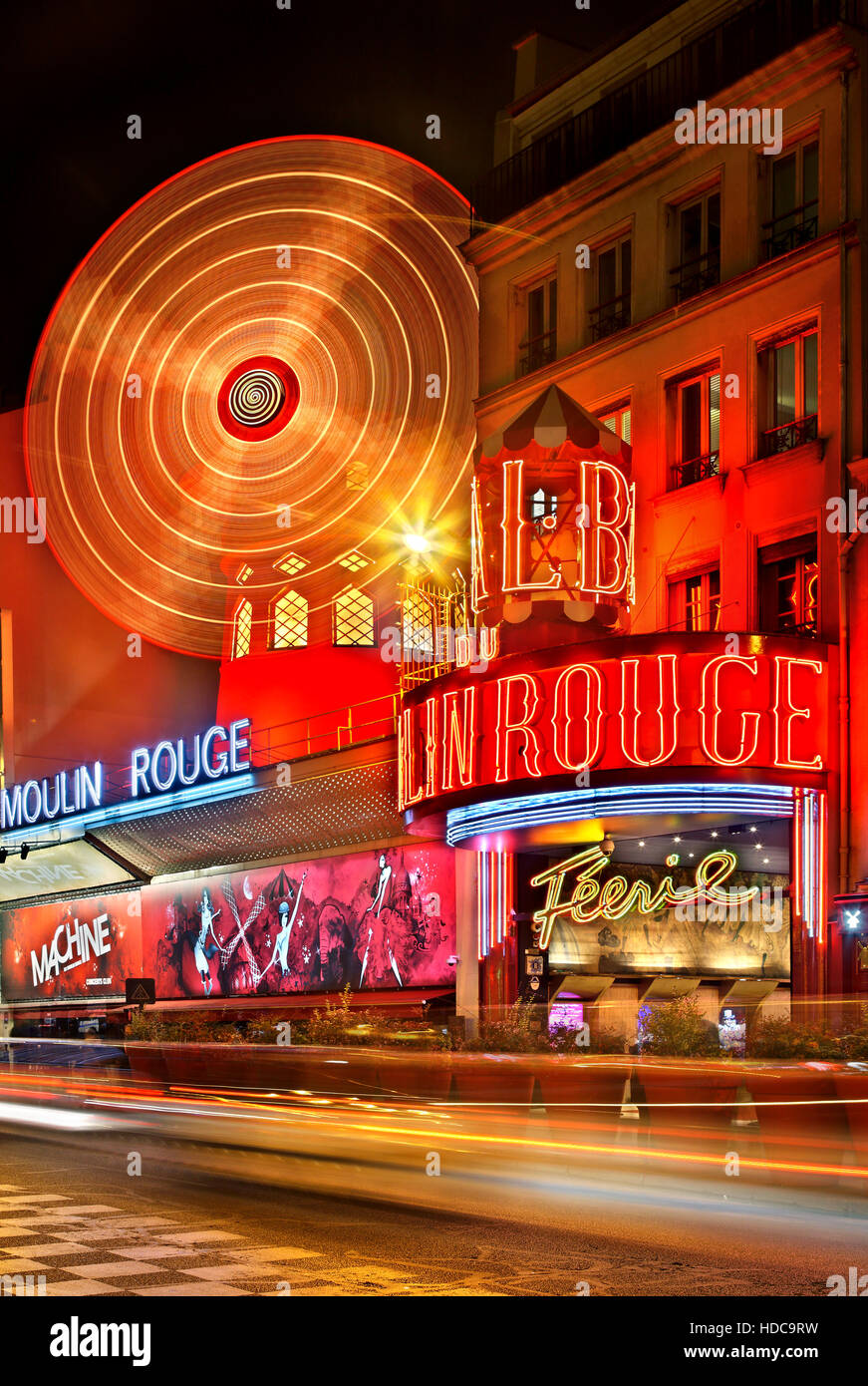 Moulin Rouge ('red mill') one of the world's most famous cabarets, at Pigalle district, close to Montmartre, - Stock Image