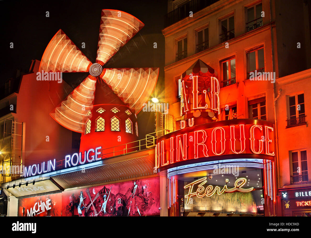 "Moulin Rouge (""red mill"") one of the world's most famous cabarets, at Pigalle district, close to Montmartre, Paris, Stock Photo"