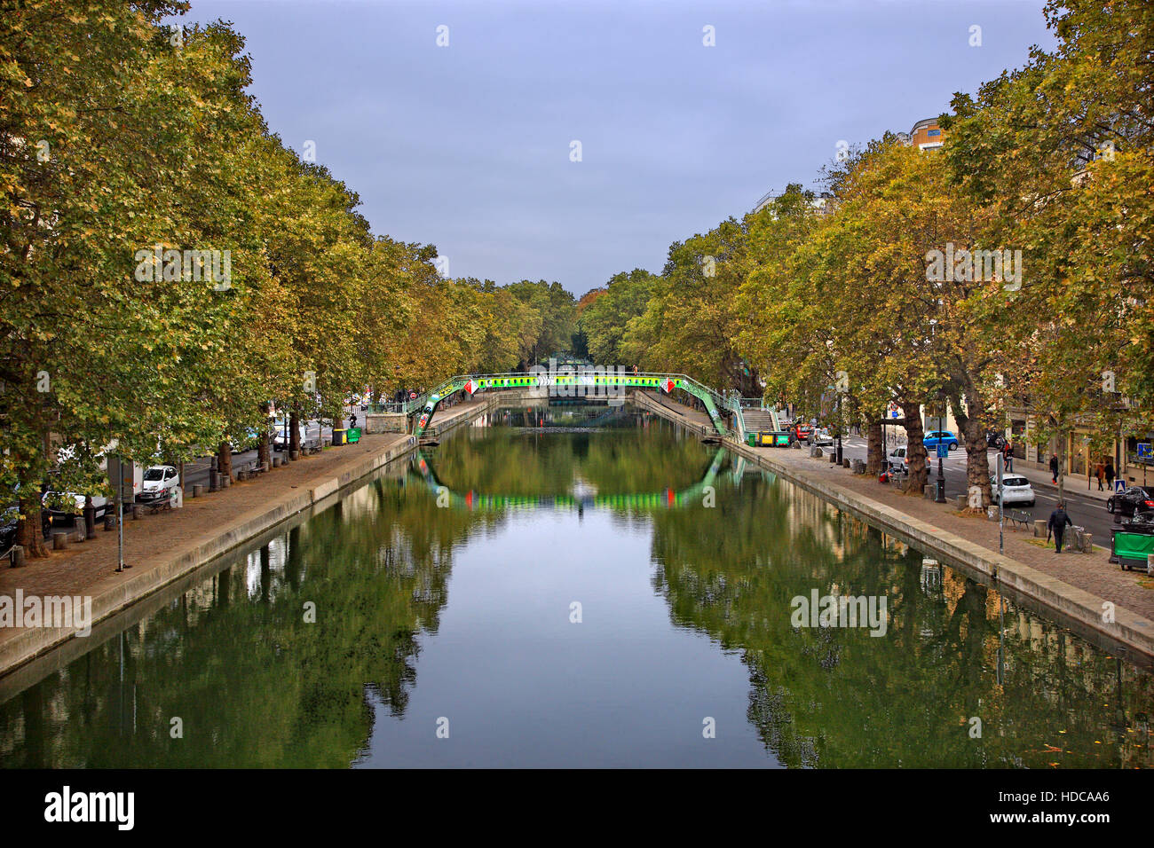 At the canal Saint-Martin, Paris, France - Stock Image