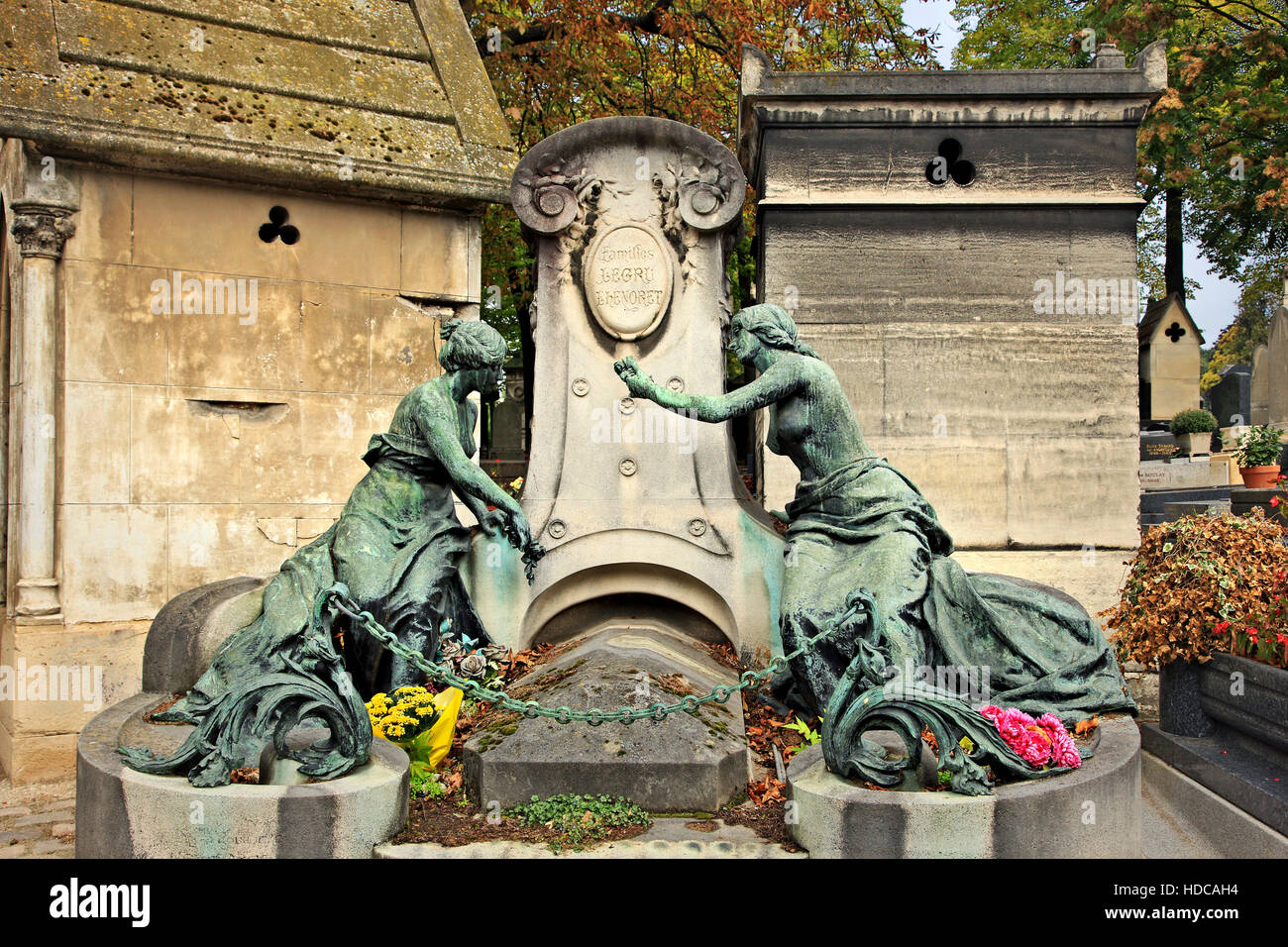 "Walking around the Père Lachaise cemetery, the biggest and most ""famous"" cemetery of Paris, France. Stock Photo"