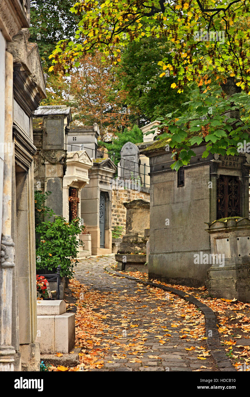 """Walking around the Père Lachaise cemetery, the biggest and most """"famous"""" cemetery of Paris, France. Stock Photo"""