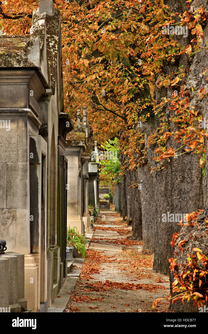 Walking around the Père Lachaise cemetery, the biggest and most 'famous' cemetery of Paris, France. - Stock Image