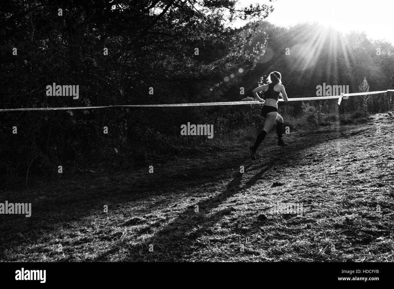 Sarah McDonald (Birchfield Harriers) competes in the ECCA Cross Country Relays at Mansfield, UK, on 7/11/2015 - Stock Image