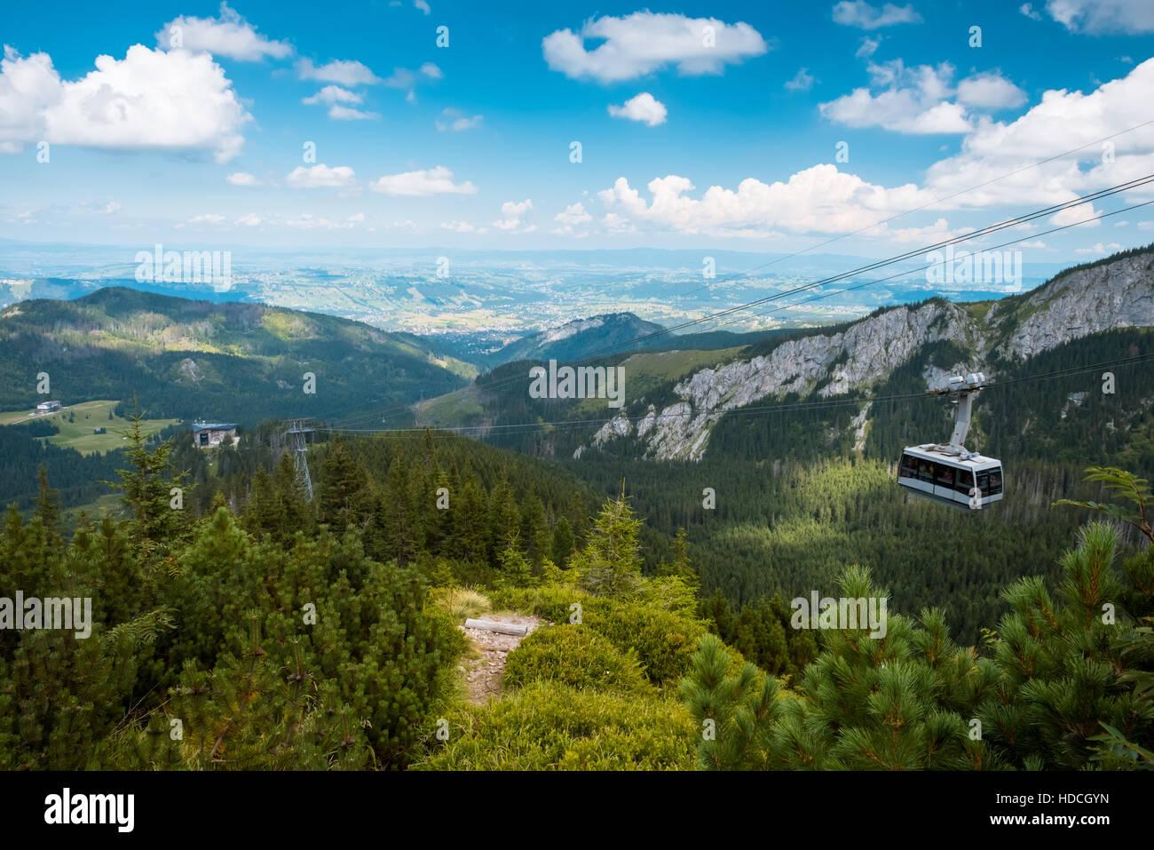 Mountain cableway in poland Tatras, Zakopane - Stock Image