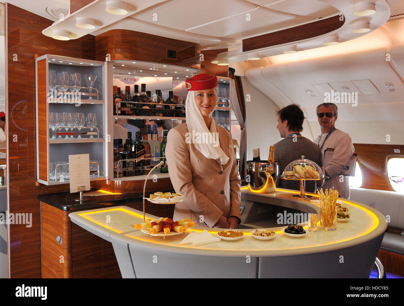 Flugbar, Business-Klasse, Airbus  A380, ILA, Berlin-Schoenefeld, Deutschland - Stock Image