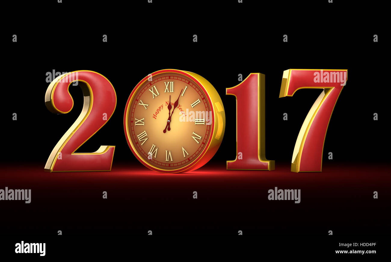 New Year 2017. Christmas. Red and gold figures, midnight.  Fabulous clock. Available in high resolution and several - Stock Image