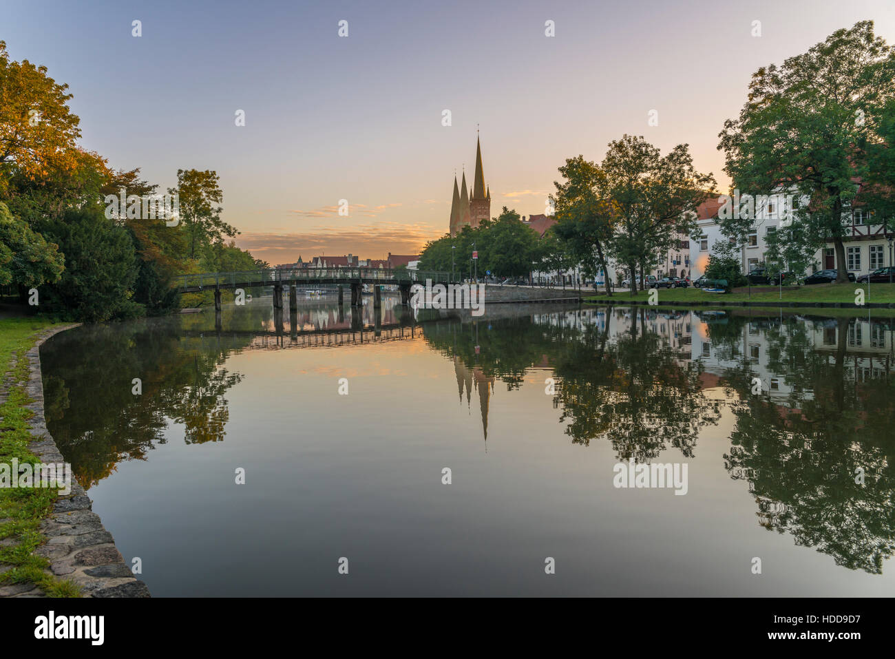 Obertave in Luebeck during sunrise - Stock Image