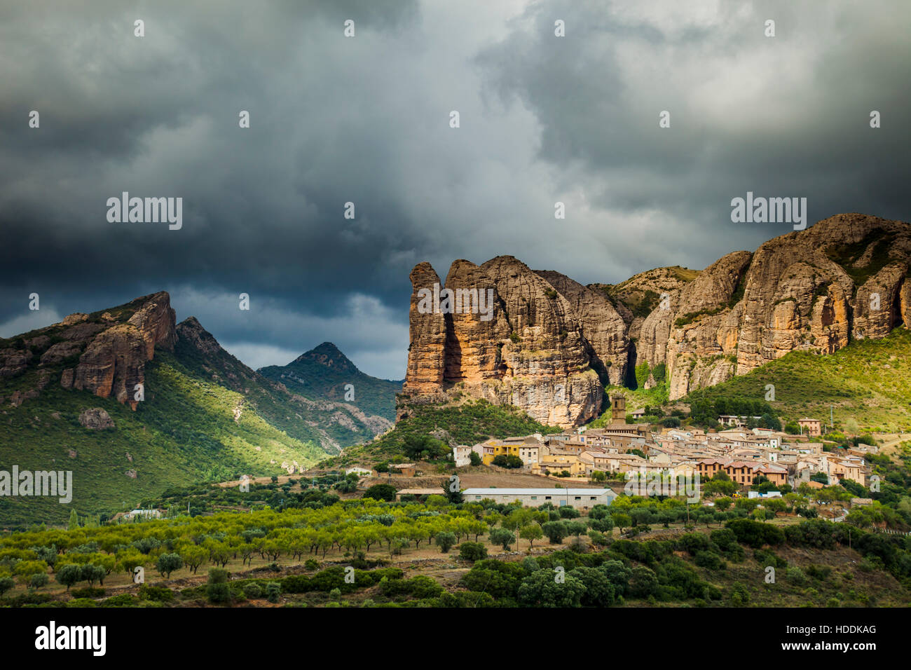 Stormy skies over Mallos de Agüero, an iconic rock formation in Huesca, Aragon, Spain. Pre-Pyrenees. - Stock Image