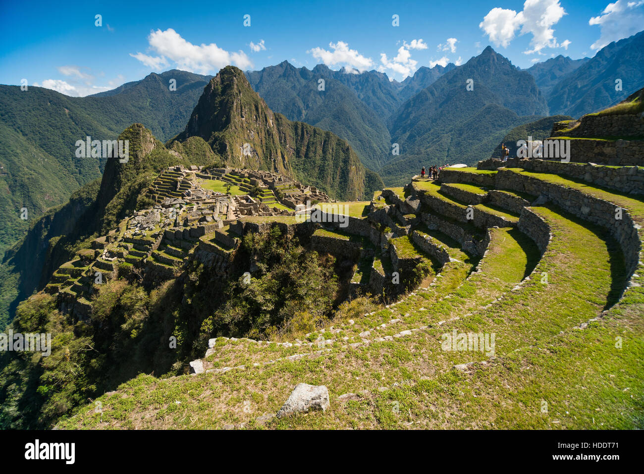 View of the Lost Incan City of Machu Picchu near Cusco, Peru. Machu Picchu is a Peruvian Historical Sanctuary. Terraces - Stock Image