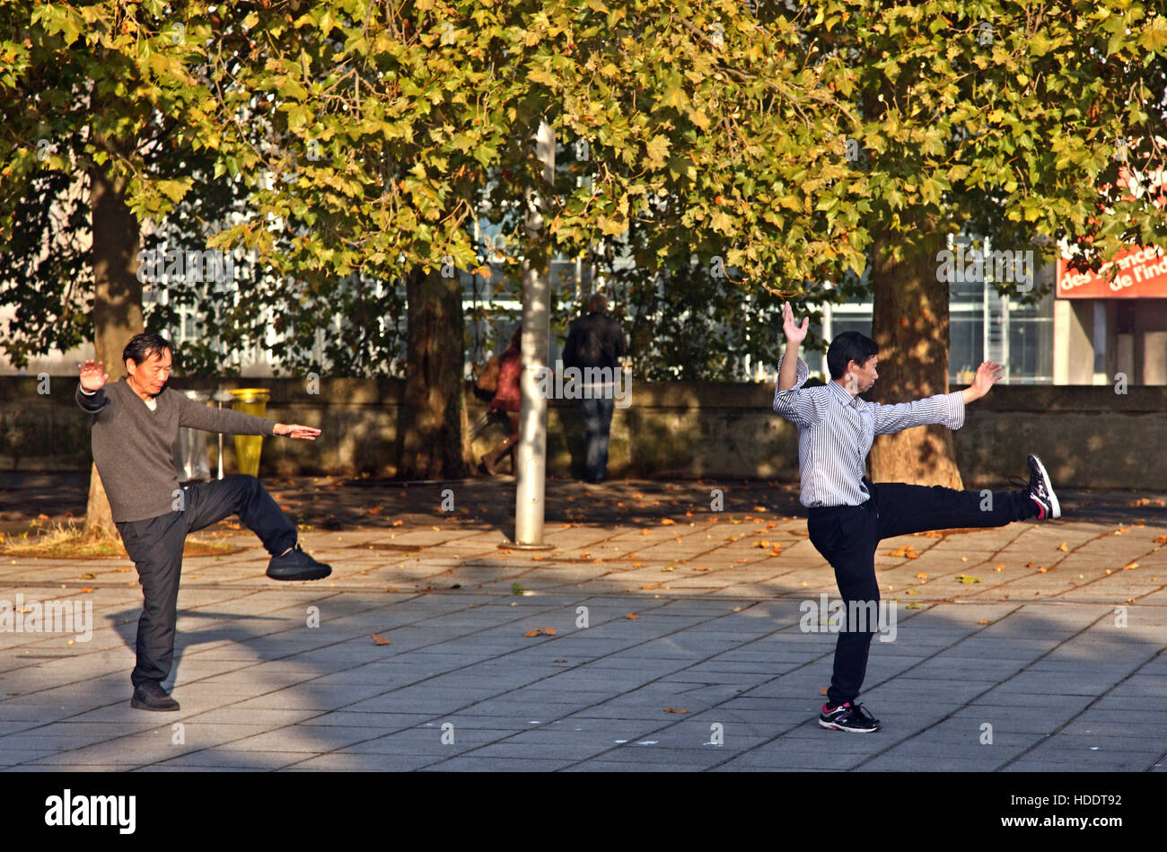 Early morning Tai Chi exercise in Parc de la Villette, in the 19th arrondissement of Paris, France. - Stock Image
