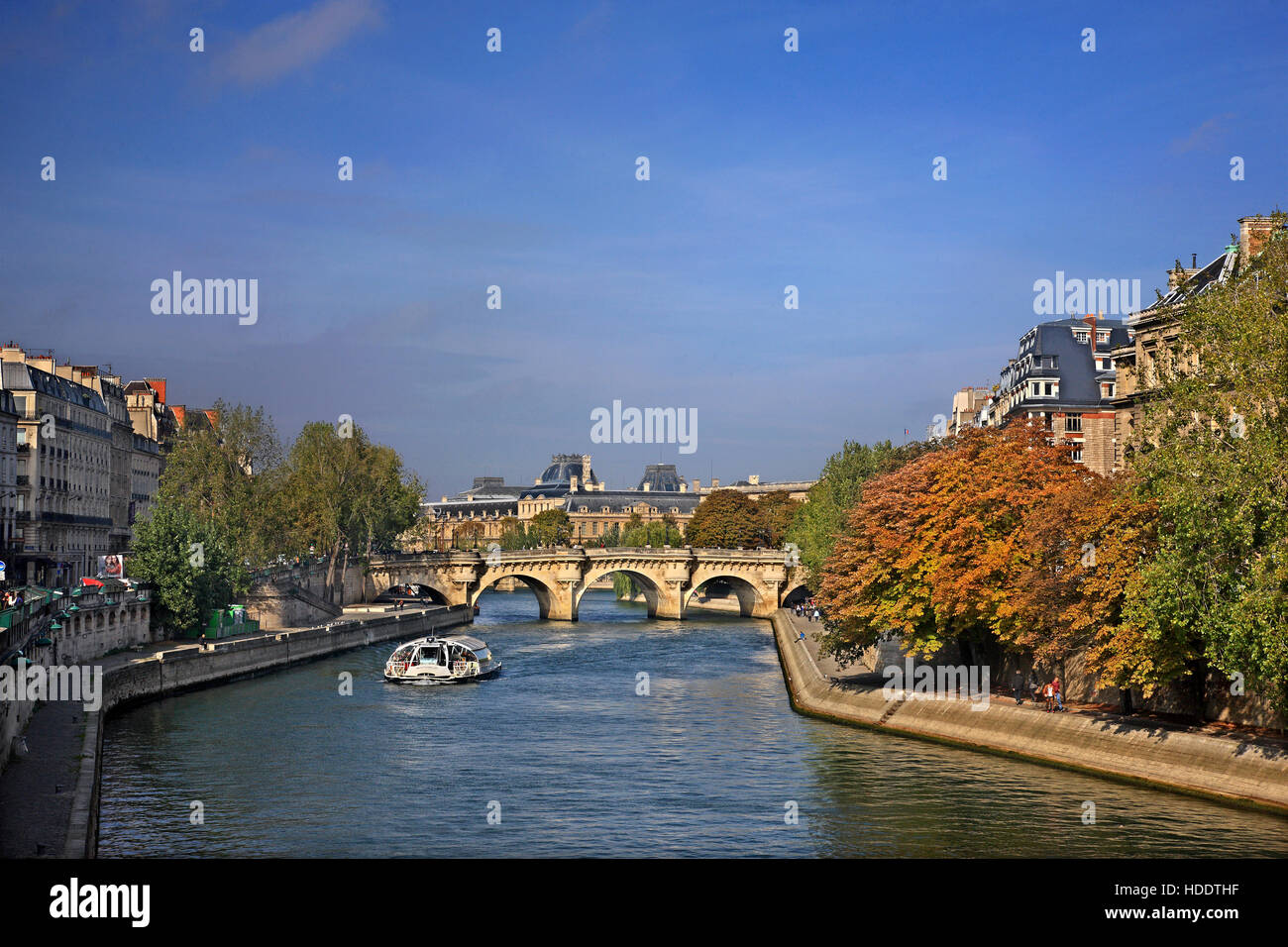 The Pont Neuf (literally 'New Bridge'), the oldest standing bridge across the river Seine in Île de - Stock Image