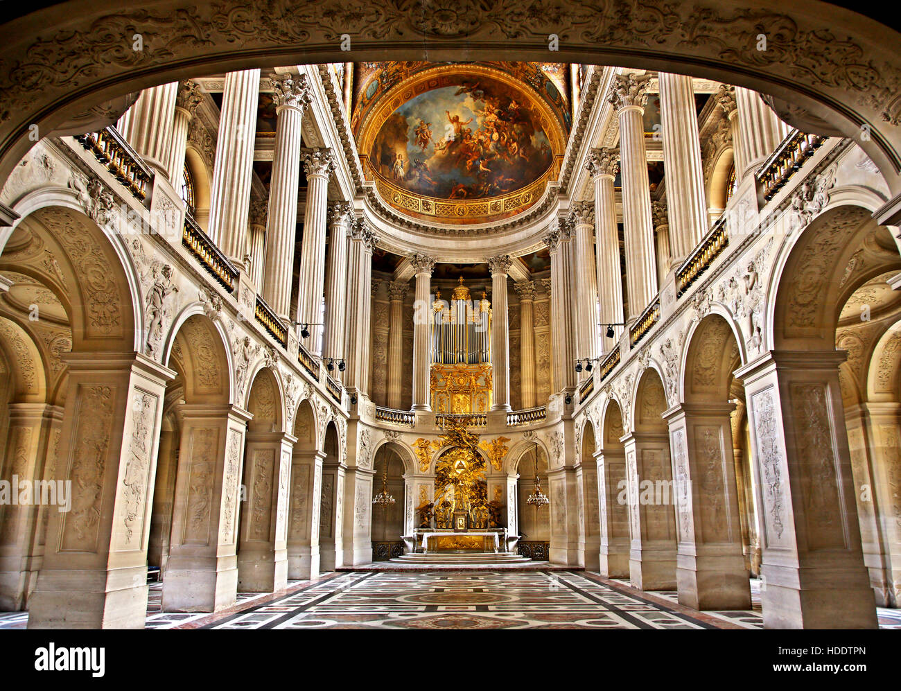 Arcade in  the Palace of Versailles, France. - Stock Image