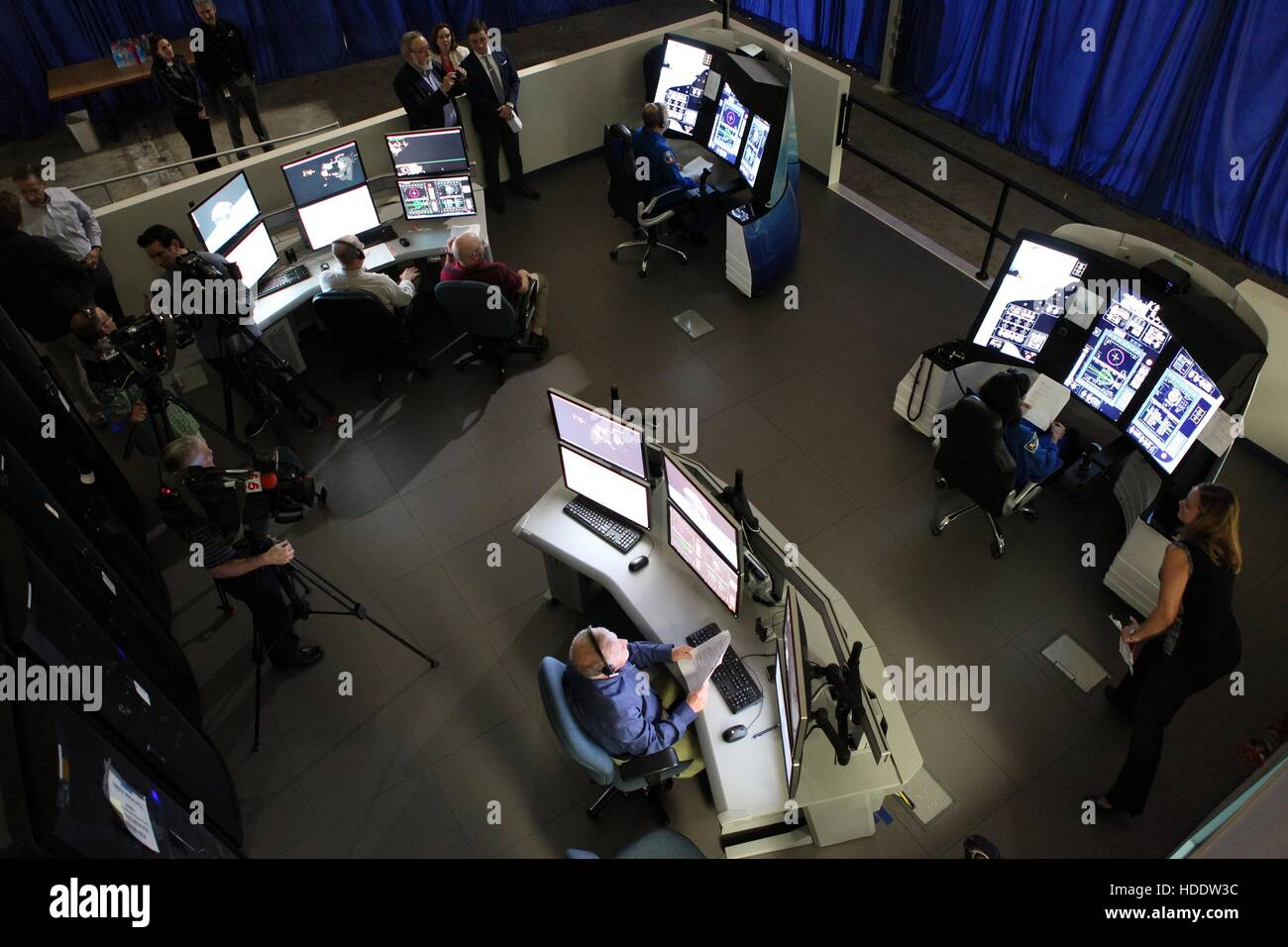 NASA engineers run mission scenarios in Boeing part-task trainers that simulates spacecraft missions at the Boeing - Stock Image