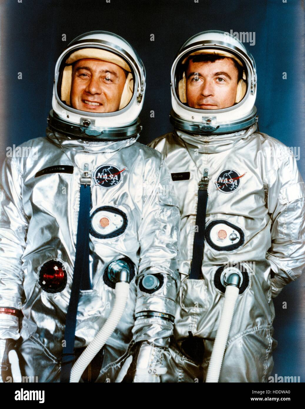 Official NASA portrait of Gemini 3 astronauts Gus Grissom (left) and John Young April 13, 1964. Stock Photo