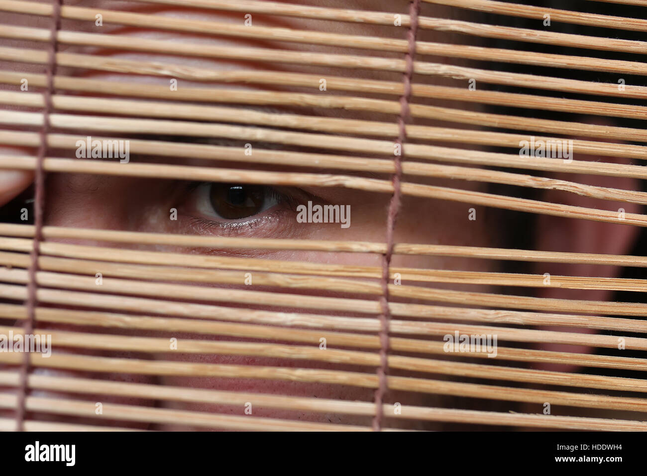 A Man With A Beard Hides Behind A Wooden Roman Blinds And Expresses Stock Photo Alamy