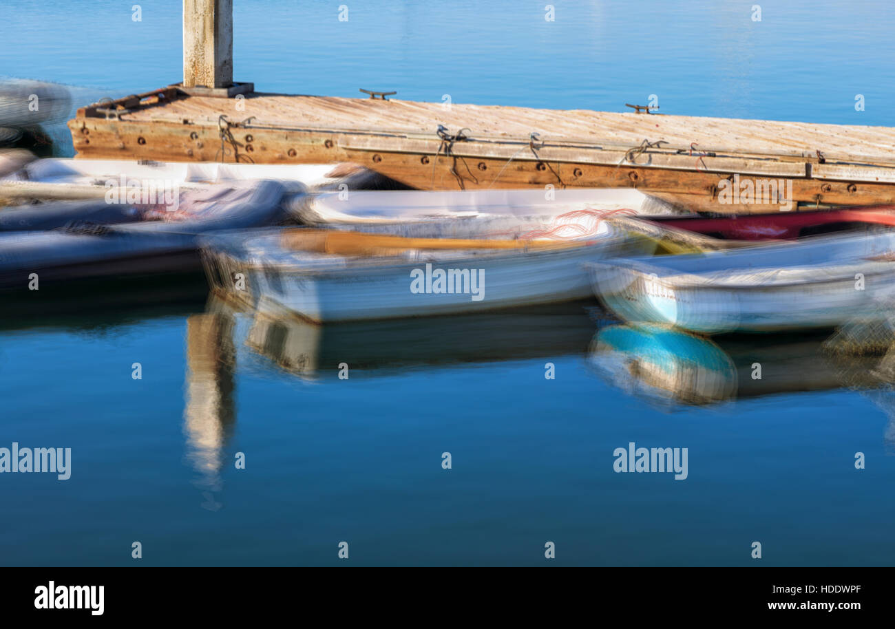 boats at dock, impressionistic image, motion blur. - Stock Image