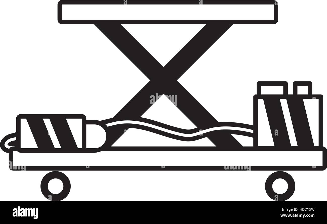 lifting table warehouse delivery outline vector illustration eps 10 - Stock Vector