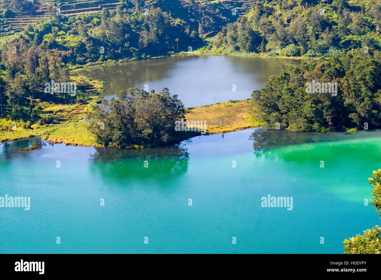 The Colorful Lakes, or multi-colored lakes, or Telaga Warna in Indonesian, is one of the three main sights on the - Stock Image