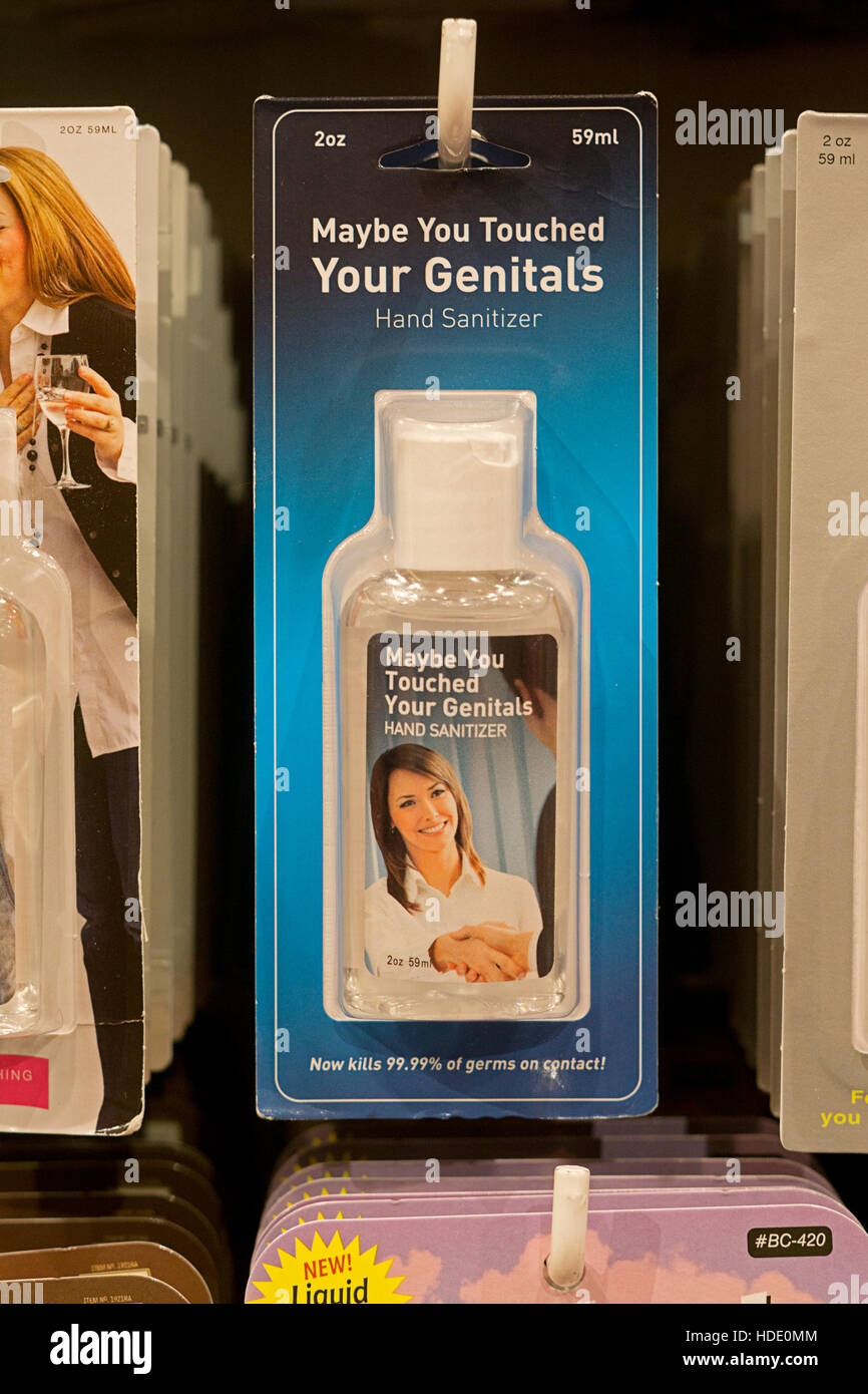Funny gag gift hand sanitizer for sale at It'sugar on Broadway in Greenwich Village, New York City - Stock Image