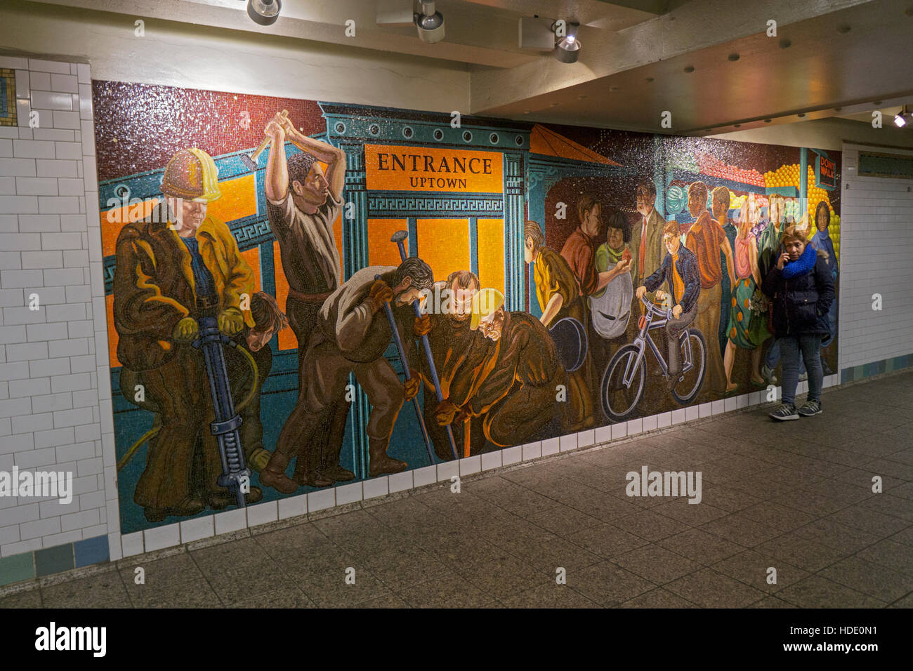 The Return of Spring/The Onset of Winter a mural by Jack Beal at the Times Square subway station in Midtown Manhattan, - Stock Image
