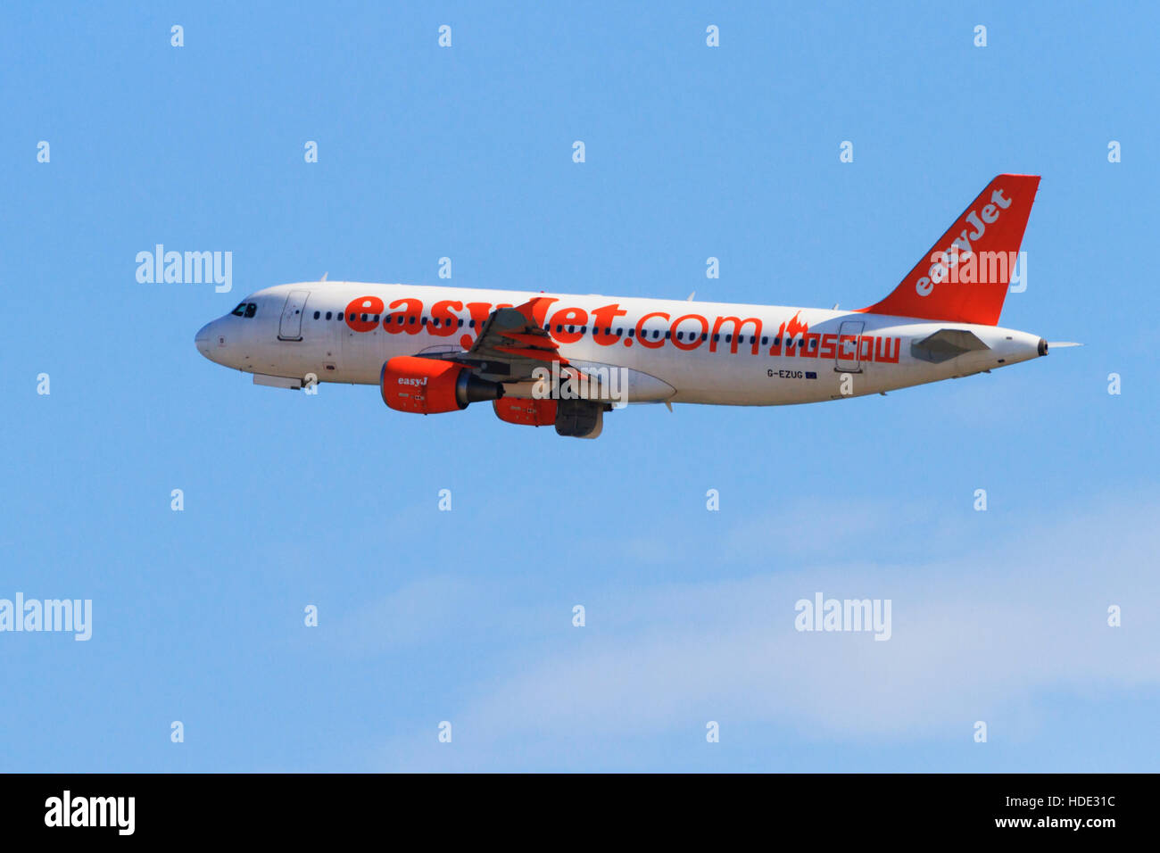 Airbus A320-214 of Easyjet in Moscow livery. - Stock Image