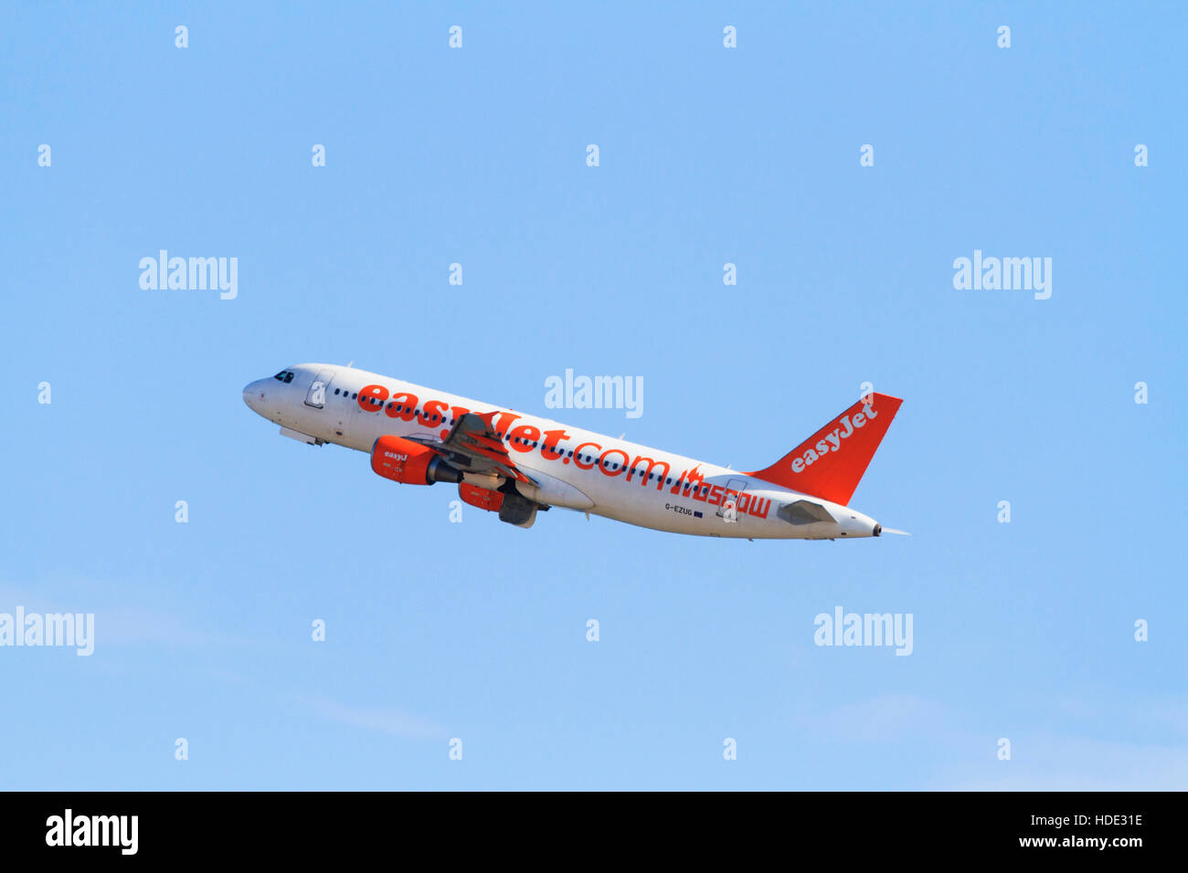 Airbus A320-214 of Easyjet in Moscow livery. Stock Photo