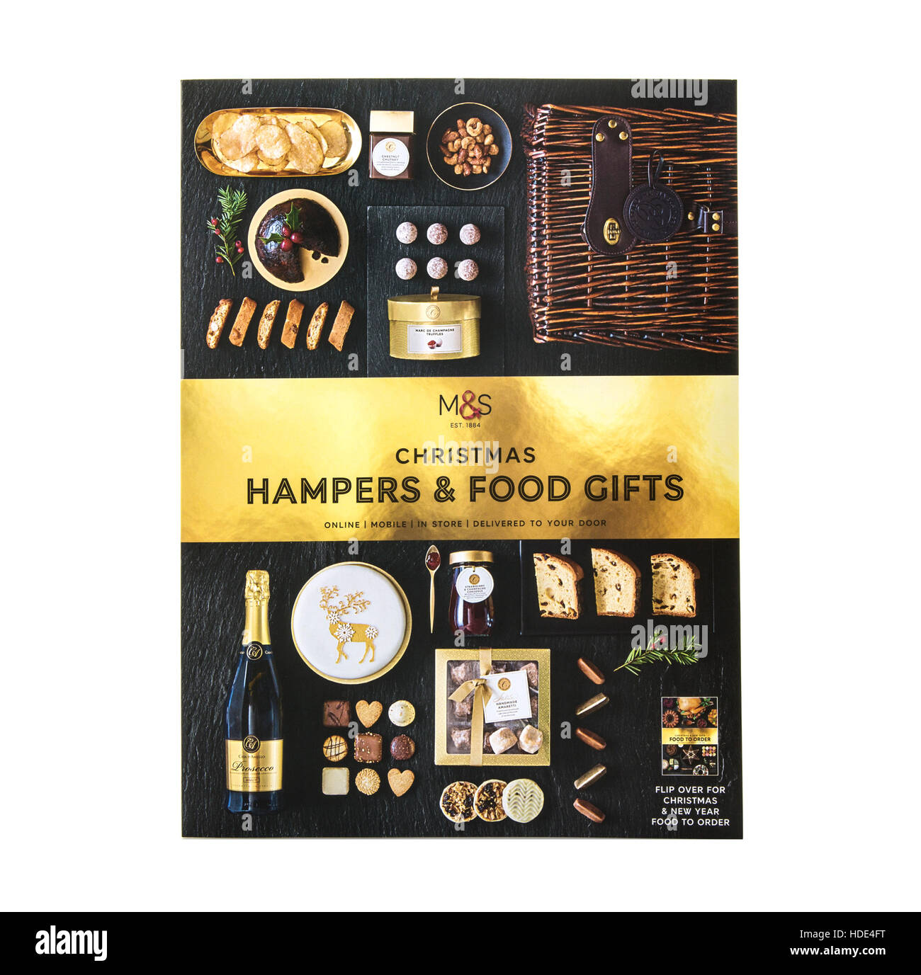 Marks And Spencer Christmas Hampers and food Gifts on a white background - Stock Image