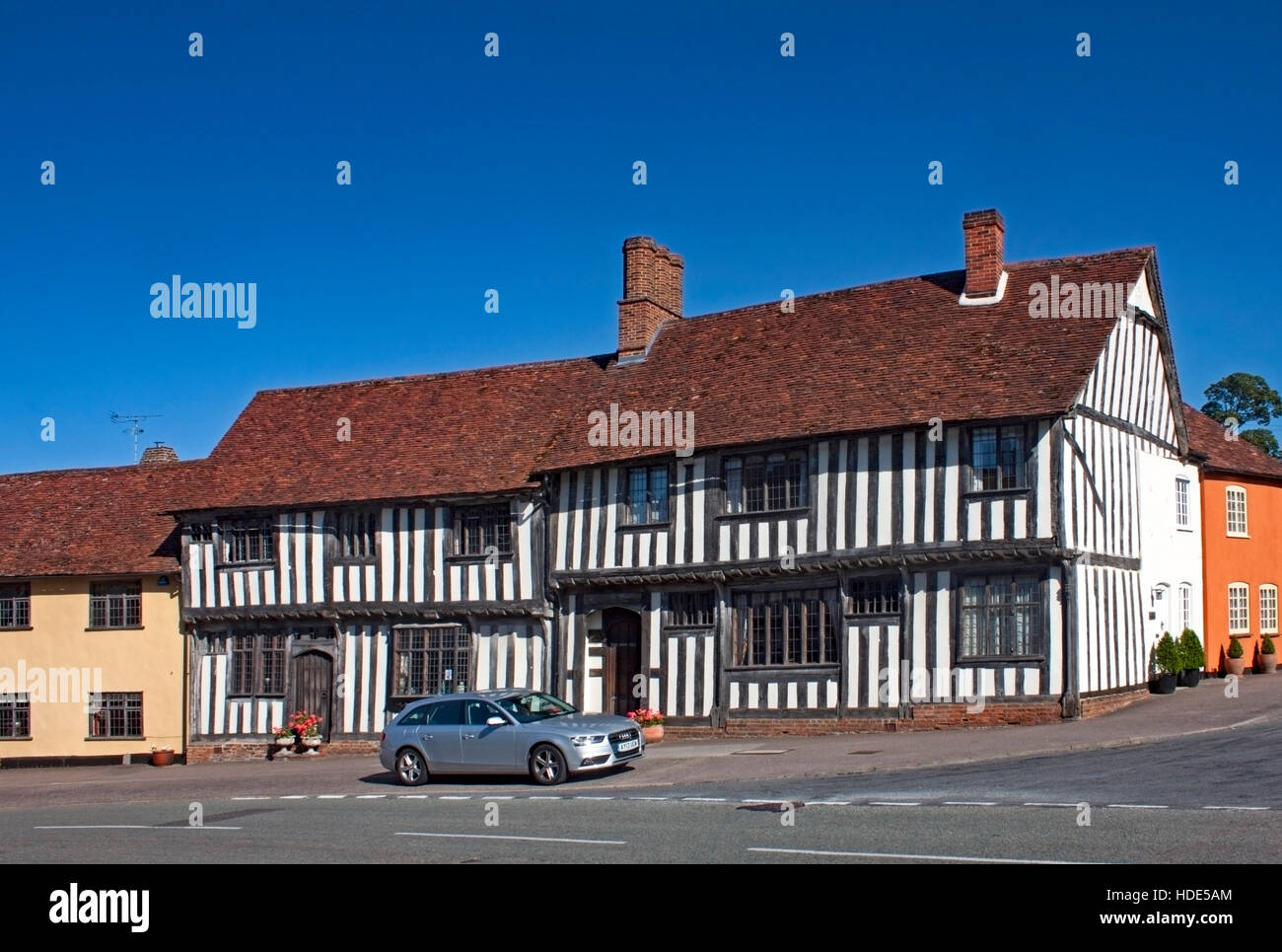 Classic black and white timber framed house in Lavenham, Suffolk, England - Stock Image